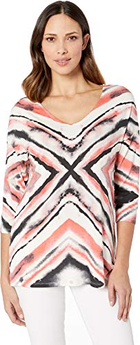 (Tribal Women's Printed Jersey 3/4 Sleeve V-Neck Tunic Nectar X-Large)