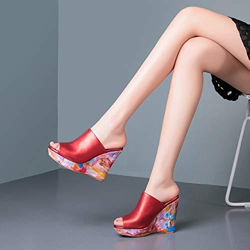 KPHY Damenschuhe Elegant Slope-Pantoffeln Dicke Sommer Sole Sole Sole Wasserdicht Leder-Slipper 11Cm High-Heel 37 des ea2dff