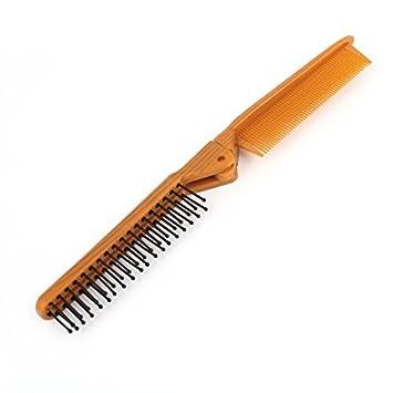 eDealMax Inicio Diseño plegable Cabello castaño peine de plástico Negro redondeado dientes cepillo Para el Pelo