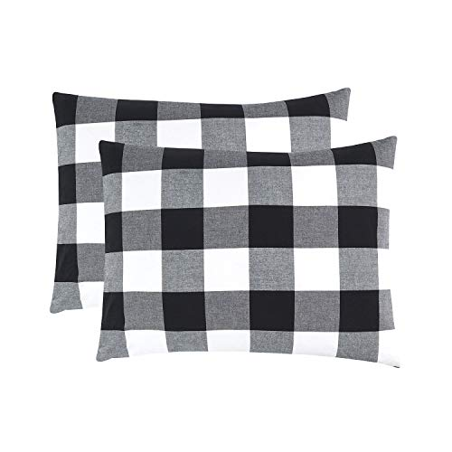 (Wake In Cloud - Pack of 2 Pillow Cases, 100% Washed Cotton Pillowcases, Buffalo Check Gingham Plaid Geometric Checker in White Black Gray (Standard Size, 20x26 Inches))
