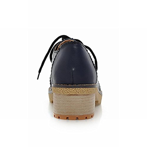 Carol Chaussures Mode Femmes Neutre Lacets Occasionnels Retro Talon Moyen Oxfords Chaussures Bleu Profond