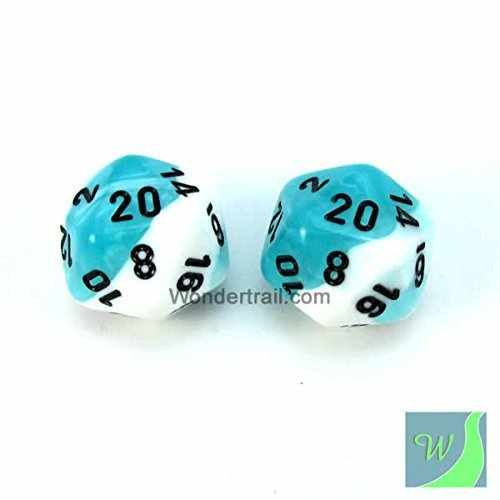 グランドセール wcxpg2044e2ホワイトとティールGemini Dice Withブラック番号d20 Aprox Dice 5 16 mm Chessex ( 5/ 8in ) Pack of 2 Dice Chessex B00VWXBUWQ, co100percent:f33c0081 --- arianechie.dominiotemporario.com