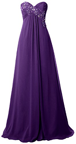 Strapless Prom Party Empire Formal Chiffon Violett MACloth Long Gown Dress Women Evening w5f8Bq6
