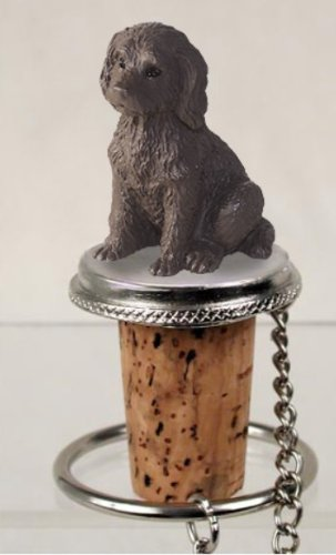 Chocolate Labradoodle Dog Wine Bottle Stopper