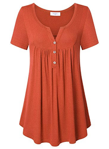 Women Short Sleeve Blouse  Ca Kra Ladies Summer Buton Up V Neck Loose Casual Pleated Solid Blouses Orange  Large