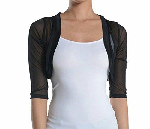 Women Sheer Chiffon Mesh 3/4 Sleeves bolero Shrug Cardigan (Large, Black)