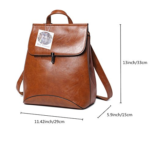 4573ffa96f95 WINK KANGAROO Fashion Shoulder Bag Rucksack PU Leather Women Girls Ladies  Backpack Travel bag (brown