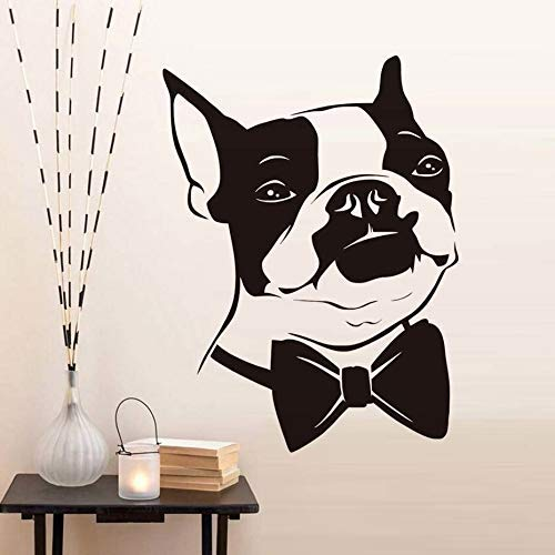 - Lorraine Sweet Bow Tie Puppy Wall Sticker for Kids Room Decoration Funny Boston Terrier Dog Removable Wallpaper Poster Wall Decals Home Decor