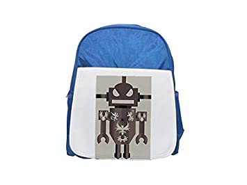 Mochila estampada de robot azul para niños, mochilas lindas, mochilas pequeñas bonitas, mochila