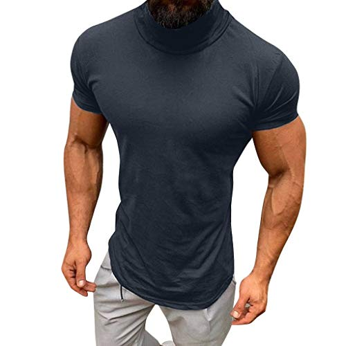 Bsjmlxg Men Casual Spring Summer Solid Color Short Sleeve, Turtleneck, Daily, Fashion Gray