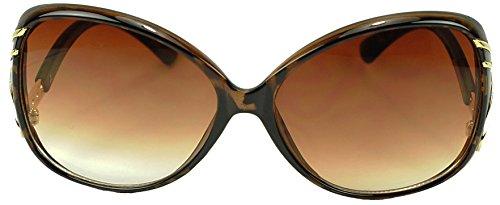 Oversized Round Diamond Rhinestone Gold Metal Swirl Arm Sunglasses 100% UV400 Gradient Lens Sunnie Glasses - Arm Sunglasses Swirl