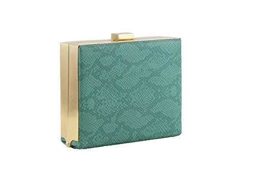 Hearty Trendy Python Print Box Clutch Minaudiere -GREEN