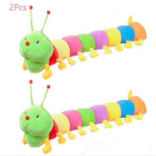 (Sealive 2 Pcs Colorful Caterpillar Plush Toy, Long Stuffed Animal Caterpillar Pillow for Kids Adults, Cute Rainbow Caterpillar Puppy Dog Cat Pet Toys, Great Valentines/Birthday/Christmas Gift)