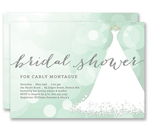 Mint Bridal Shower Invitations Bokeh Wedding Dress Silver Glitter Look Personalized Boutique Invites with Envelopes - Carly style
