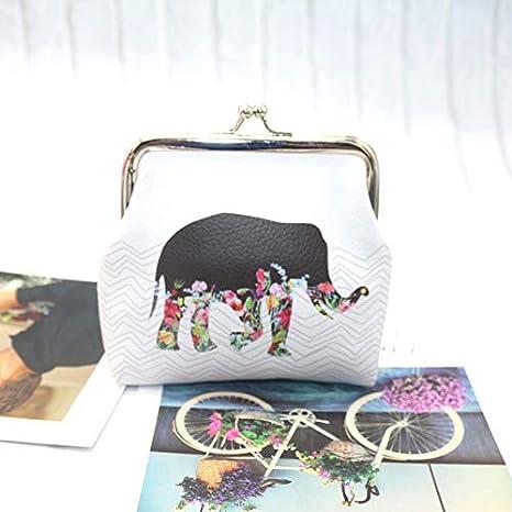12 A Shuda 1 Pcs Femmes Mini Pochette Mignon /Él/éphant Motif en PU Petit Porte-Monnaie Mini Trousse Petite Pochette Poche Sac De Rangement 9 cm