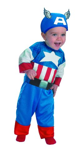 Disguise Marvels Super Hero Squad Captain America Infant Costume, Red/White/Blue, 18 -