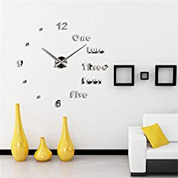 3D Wall Clock DIY Large Sticker Modern Frameless Home Decor Silver Mirror For Bedroom Living Room Office Kitchen Bar English Clock Plate