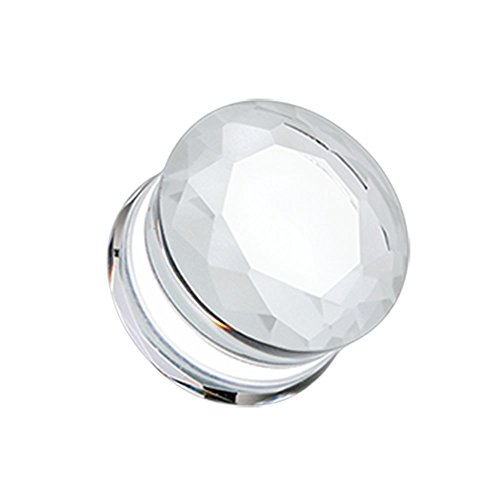 - Clear Faceted Pyrex Glass Gemstone Double Flared Plugs - Sold as Pairs (00G)