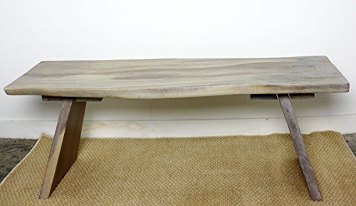 Angled Bench 48x17-20x18 inch H Monkey Pod Wood KD in Eco Livos Agate Grey Oil F by Haussmann