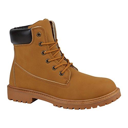 Stiefelparadies Gefütterte Herren Worker Boots Outdoor Schuhe Schnürstiefel Flandell Hellbraun Bexhill