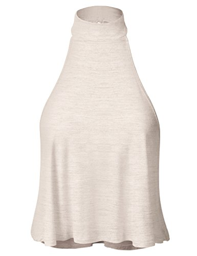 Sleeveless High-Neck Casual High-Low Draped Crop Top Heather_Beige Large (GTEW178) ()