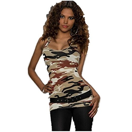 Flank Women Sleeveless Camouflage Party Vest Clubbing Army Tank Tops No Belt (S, Brown)