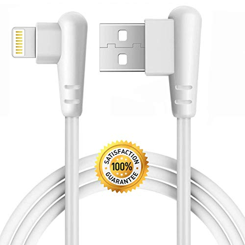 Boost Right Angle Charger 10FT Cord 90 Degree Fast Data Cable Compatible for iPhone X Case/8/8 Plus/7/7 Plus/6/6s Plus,iPad Mini Case (White) 3M, 1-Pack ()