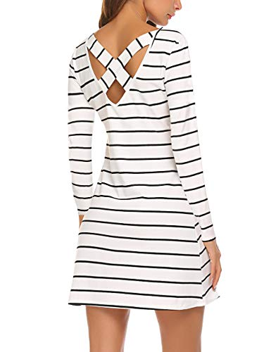 LuckyMore Women Black & White Striped Long Sleeve Loose Fit Pocket Blouse T Shirts Dress White XXL