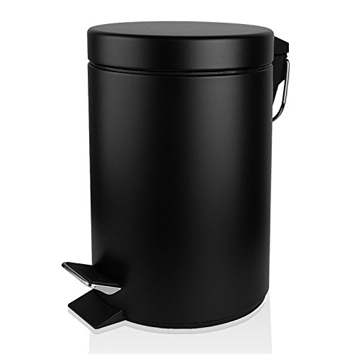TECKING Small Round Step Trash Can(1.3Gal/5L),Carbon Steel Fingerprint-Proof,with Removable Inner Bucket for Garbage Storage & Organization(Black) (Monster Energy Things compare prices)
