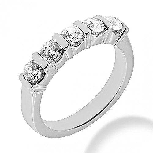 1.25 ct. Five Stone Round Cut Diamond Wedding Band in Bar Mounting in Platinum In Size 3.5 ()