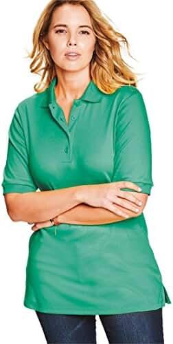 Roamans Women's Plus Size Oversized Polo Tunic