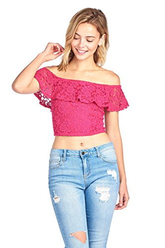 Lace Ruffled Layered (Khanomak Short Sleeve Lace Off Shoulder Ruffled Layered Crop Top (Small, Rose Fuchsia))