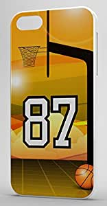 Basketball Sports Fan Player Number 87 White Plastic Decorative iphone 4s Case