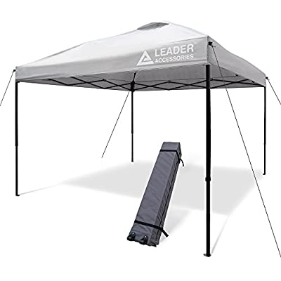 Leader Accessories Pop Up Canopy Tent 10'x10' Canopy Instant Canopy Shelter Straight Leg Including Wheeled Carry Bag, Silver : Garden & Outdoor