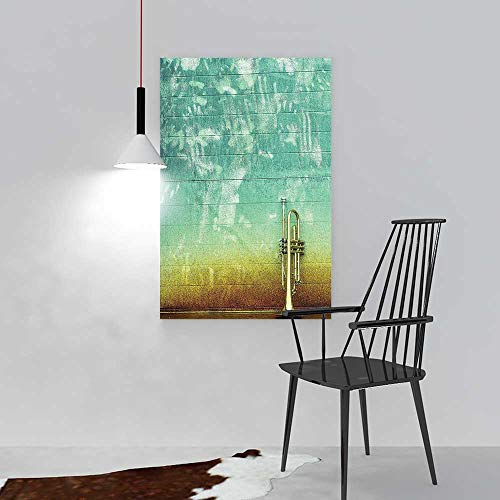 L-QN Paintings Decorative Frameless Aged Worn Single Trumpet Stands Alone Against a Faded Wall Theme Sea Green Brown Restaurant Bedroom Painting W12 x -