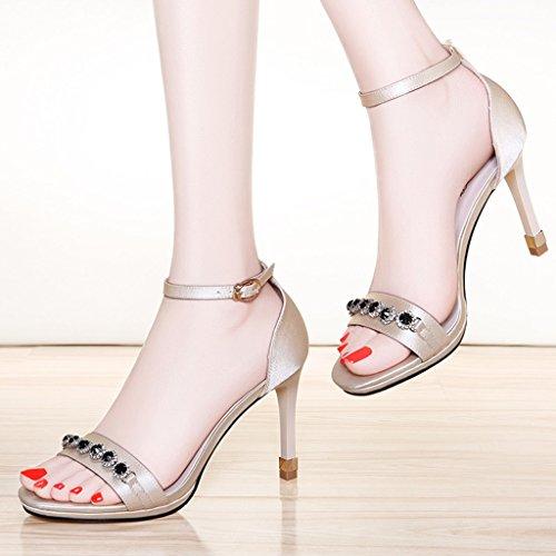 Enveloppant Chaussures Bout Sandales Abricot Ouvert Mince Été Femmes Talons Talon Pu Pour Femme Hauts Supérieur wqTYP