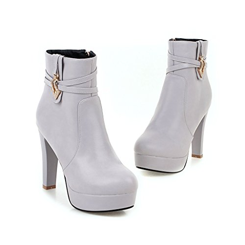 Carolbar Womens Zip Rhinestones Sexy Chic Platform High Heel Short Boots Grey j7whUdj3O