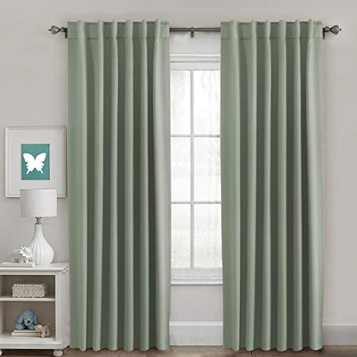 H.VERSAILTEX Full Blackout Room Darkening Curtains Window Panel Drapes, Back Tab/Rod Pocket Top Thermal Insulated Curtains, 2 Panels, 52 x 84 Inch, Sage ()