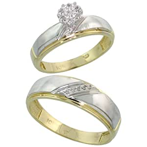 14k Gold 2-Piece Diamond Ring Set ( Engagement Ring & Man