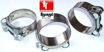 Tyagi Racing Abrazadera de Escape de Acero Inoxidable Resistente Turbo Abrazaderas W2 tamaño 51 mm a 55 mm