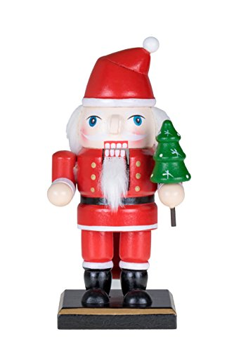 Traditional Christmas Chubby Santa Claus Nutcracker by Clever Creations | Holding Christmas Tree | 6