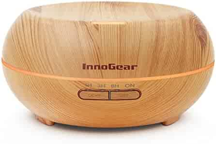InnoGear Aromatherapy Essential Oil Diffuser Ultrasonic Cool Mist Diffusers with 7 Color LED Lights Waterless Auto Shut-off, Wood Grain, 200 mL
