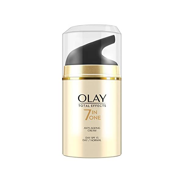 Olay Day Cream Total Effects 7 in 1, Anti-Ageing SPF 15, 50g And Olay Night Cream Total Effects 7 in 1, Anti-Ageing… 2021 August Fights 7 signs of ageing and protects against UVA/UVB rays with a proven vitamin-rich SPF 15 anti-ageing complex for younger looking protected skin Dermatologically tested non comedogenic Oil free and fast absorbing