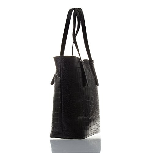 FIRENZE ARTEGIANI.Bolso shopping bag de mujer piel auténtica.Bolso mujer cuero genuino Dollaro grabado cocodrilo lacado. MADE IN ITALY. VERA PELLE ITALIANA. 30x31x14 cm. Color: NEGRO NEGRO