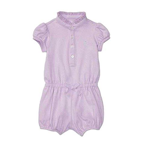 - Ralph Lauren Baby Girl Cotton Polo Romper (Pale Purple, 3 Months)