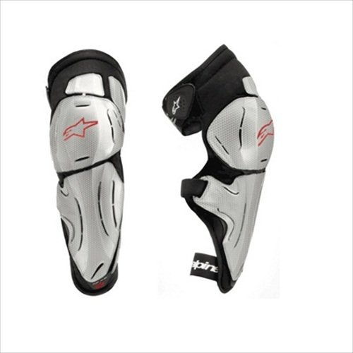 (Alpinestars Bionic SX Knee Protector - X-Small/Small/Silver/Red/Black)
