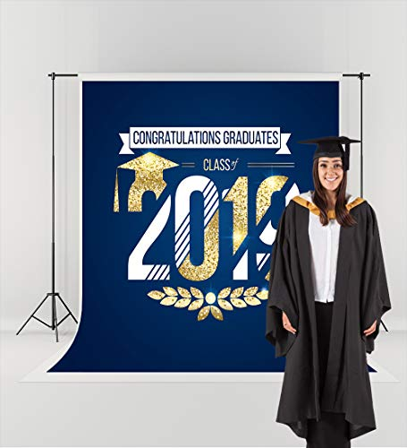 5ft(W) x7ft(H) Graduation Ceremony 2019 Photography Backdrops for Photographers Blue Gold Background No Wrinkle Reused College Grads Photo Studio -