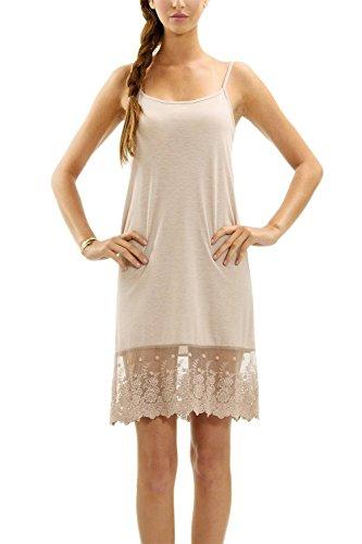 - Melody [Shop Lev] Women's Full Lace Slip Extender Solid Knit Skirt Extender (Mocha, X-Large)