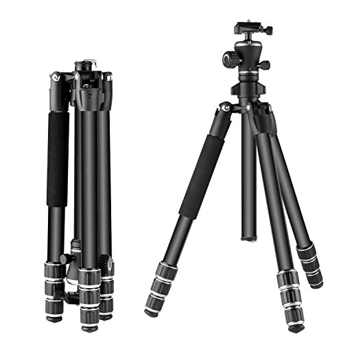 Neewer Aluminum Alloy 56 inches/142 Centimeters Camera Travel Tripod with 360 Degree Ball Head,1/4 inch Quick Shoe Plate and Bag for DSLR Camera Video Camcorder, Load up to 17.6 pounds/8 kilograms by Neewer
