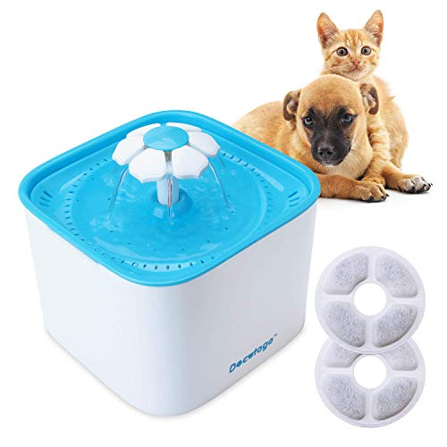 Style Dog Cat - Docatgo Pet Water Fountain,2L Cat Water Dispenser, Flower Style Dog Drinking Fountain with 2PCS Replacement Filter, Super Quiet Automatic Electric Water Drinking Bowl for Cat and Small Dogs